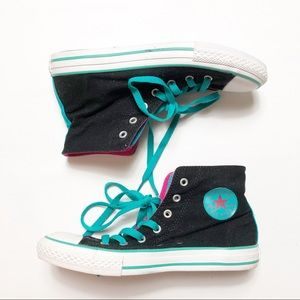 Converse All Star Blue Pink Fold High Top Shoes
